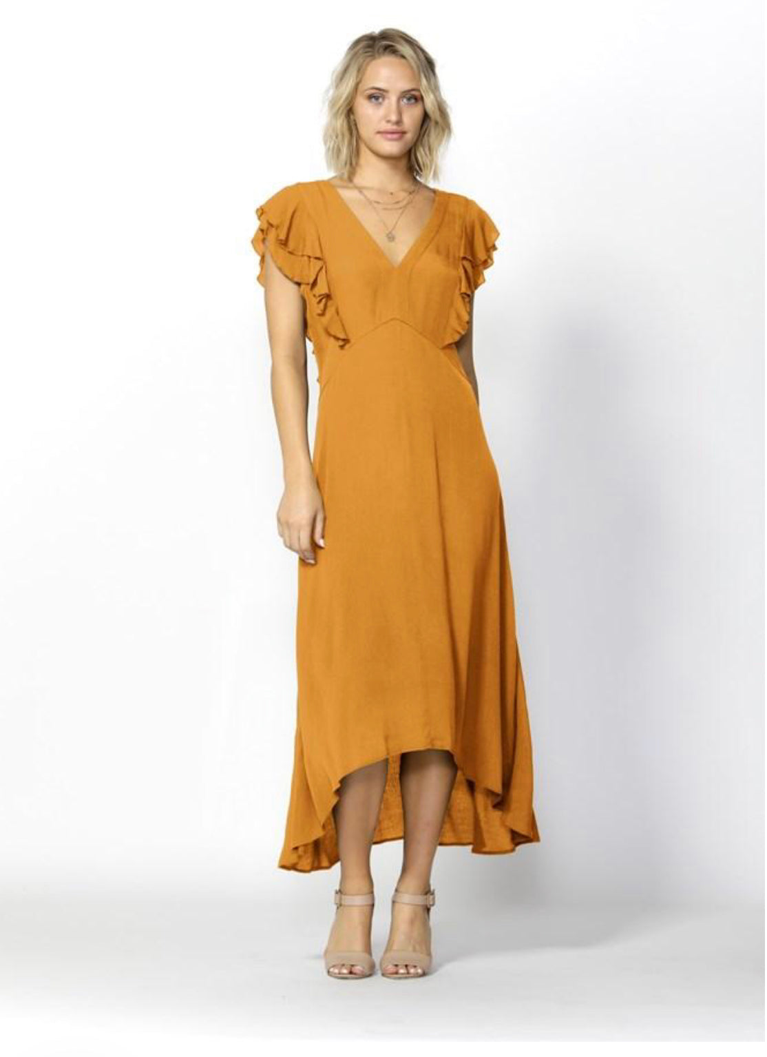 Fate & Becker Monroe Linen Blend Dress MELLOW YELLOW