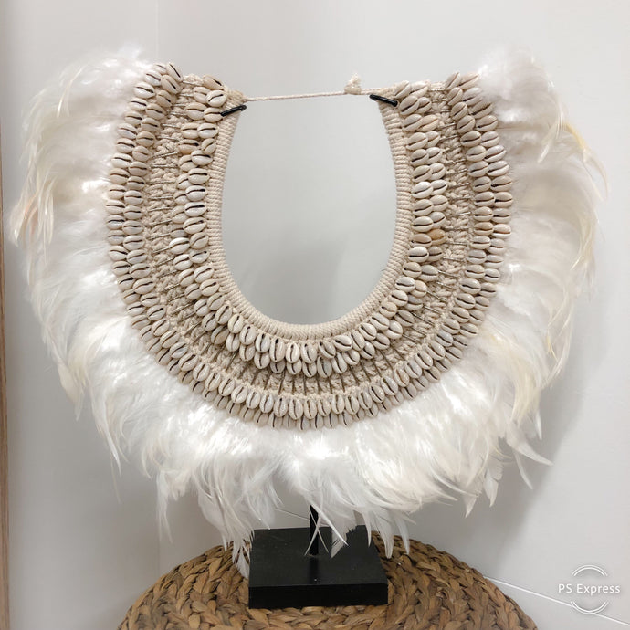 Collar - Feathers WHITE & BLACK & Cowrie Shell with Silver Long Beads