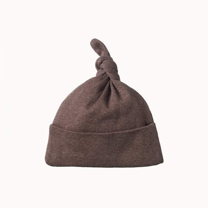 Nature Baby Cotton Knotted Beanie - TRUFFLE MARL
