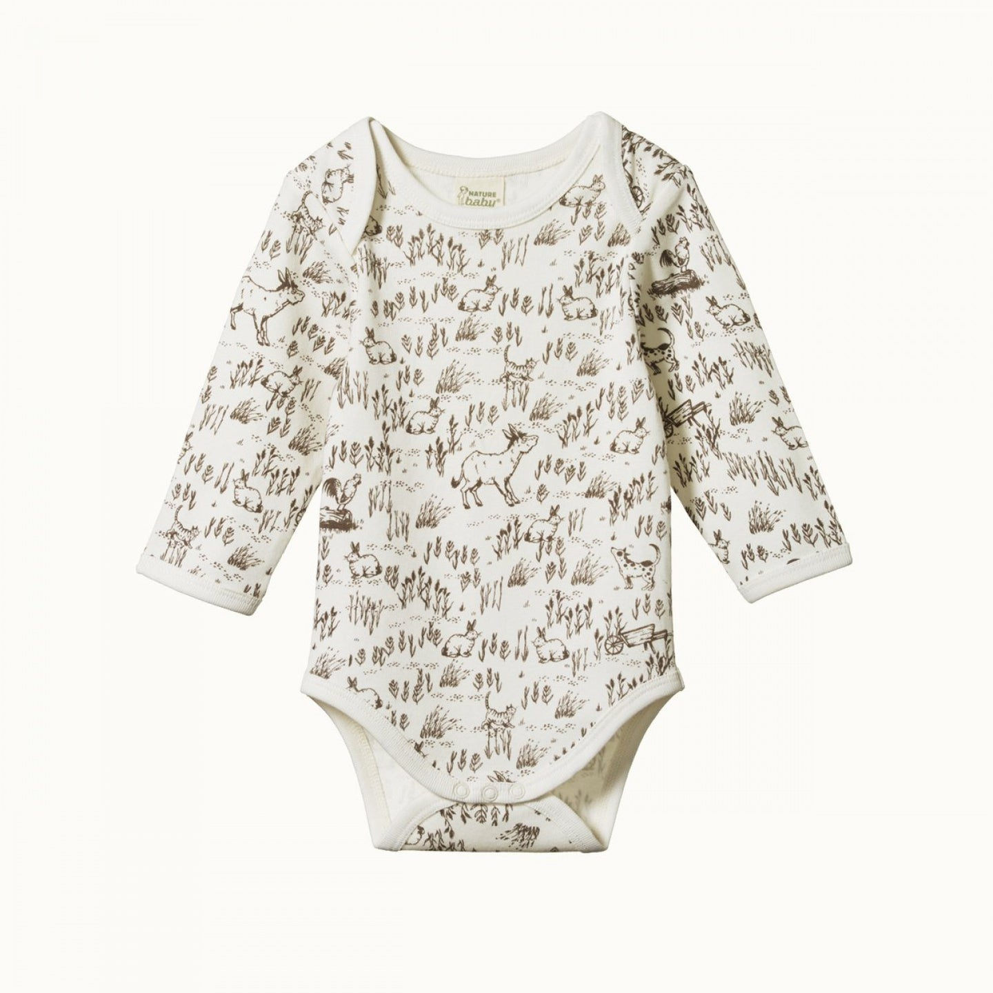 Nature Baby Cotton Long Sleeve Bodysuit - Barnyard