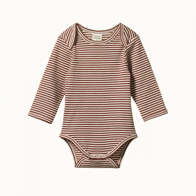 Nature Baby Cotton Long Sleeve Bodysuit - Clay