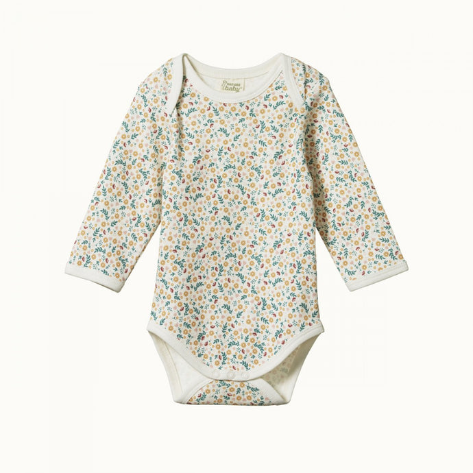 Nature Baby Cotton Long Sleeve Bodysuit - June's Garden
