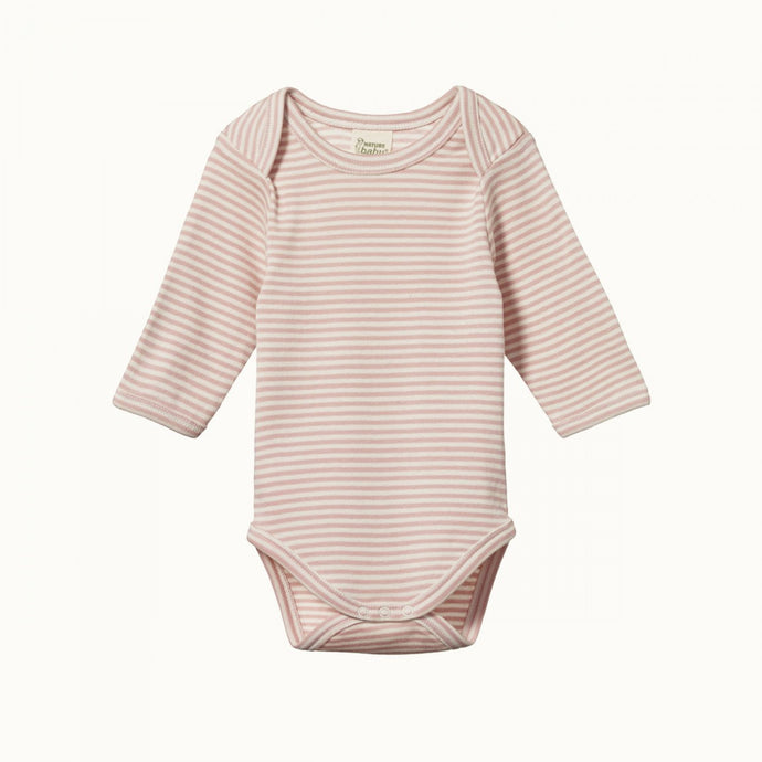 Nature Baby Cotton Long Sleeve Bodysuit - Rose Bud Stripe
