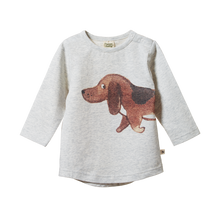 Nature Baby Stretch Jersey Everyday Tee - Top Dog Light Grey Marl Print