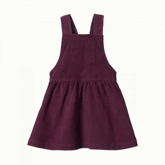 Nature Baby Cord Pinafore Dress - Elderberry