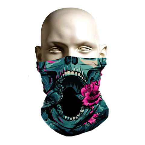 Crazy skull and rose printed ski mask for snowboarding and skiing
