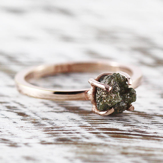 Green Raw Uncut Diamond Ring 14k Rose Gold