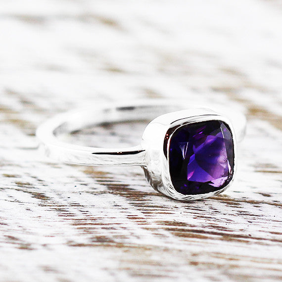Purple Amethyst Delicate Ring 925 Sterling Silver