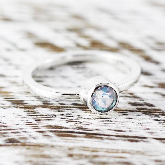 Rainbow Moonstone Dainty Ring 925 Sterling Silver