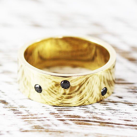 Black Diamond Wedding Band Ring 14k Gold