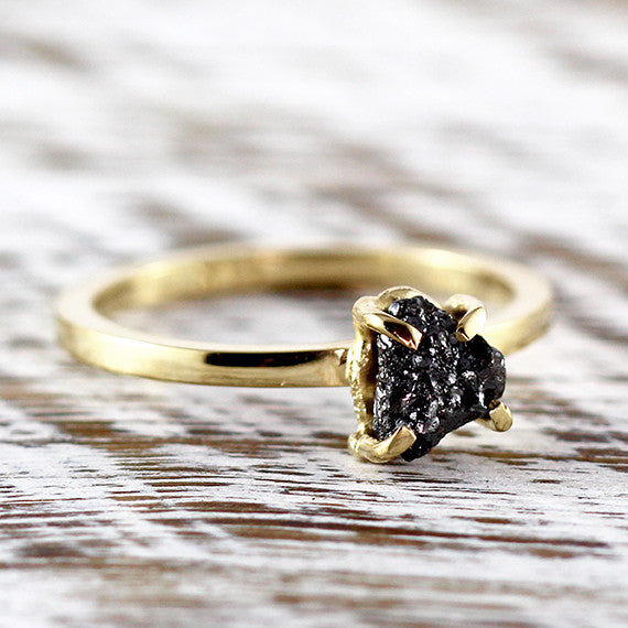 14k Gold Uncut Black Diamond Engagement Ring