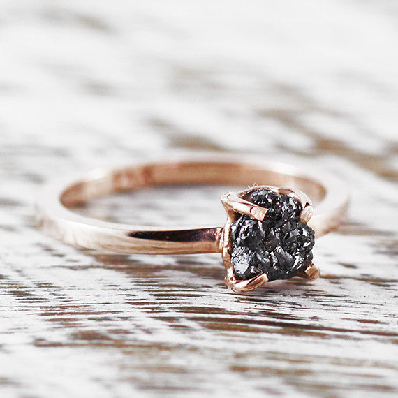 14k Rose Gold Uncut Black Diamond Ring