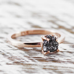 black diamond rose gold ring