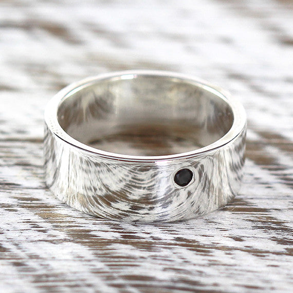 Sterling Silver Wide Wedding Band Black Diamond Ring