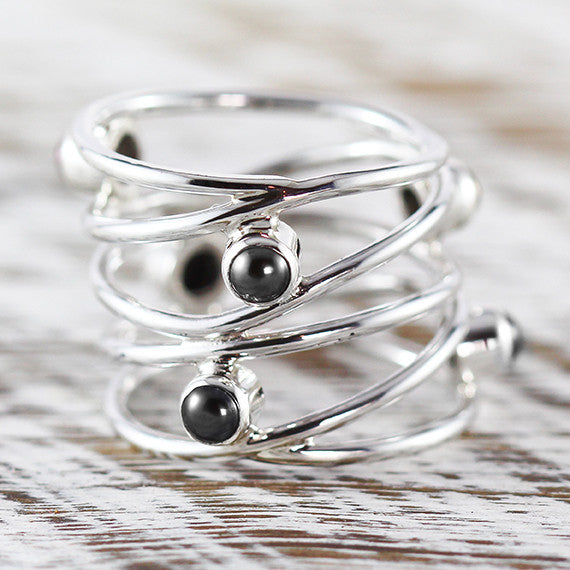 Silver Black Freshwater Pearl Dainty Womens Ring 925 Sterling