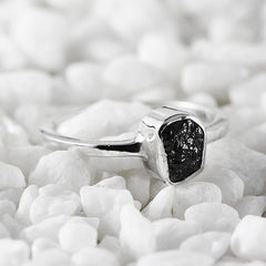 black uncut diamond ring