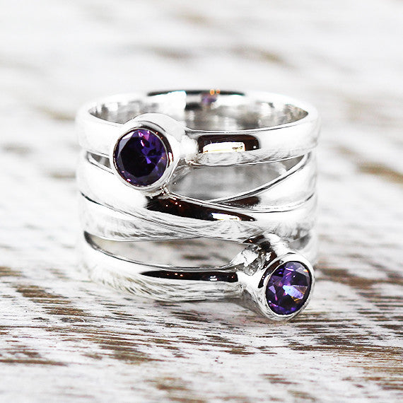 Purple Amethyst 925 Sterling Silver Womens Ring