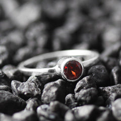 dainty red garnet ring