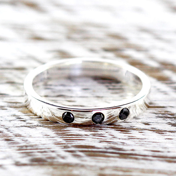 Black Diamond Wedding Band 925 Sterling Silver
