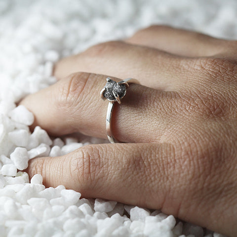 raw grey diamond ring