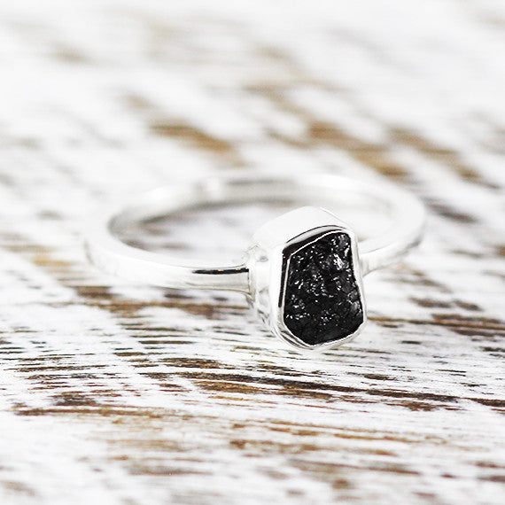 Black Diamond Promise Ring 925 Sterling Silver