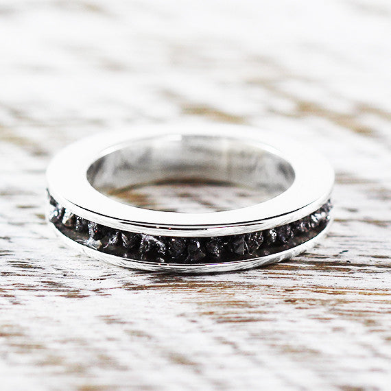 Black Raw Diamond Wedding Band 14k White Gold