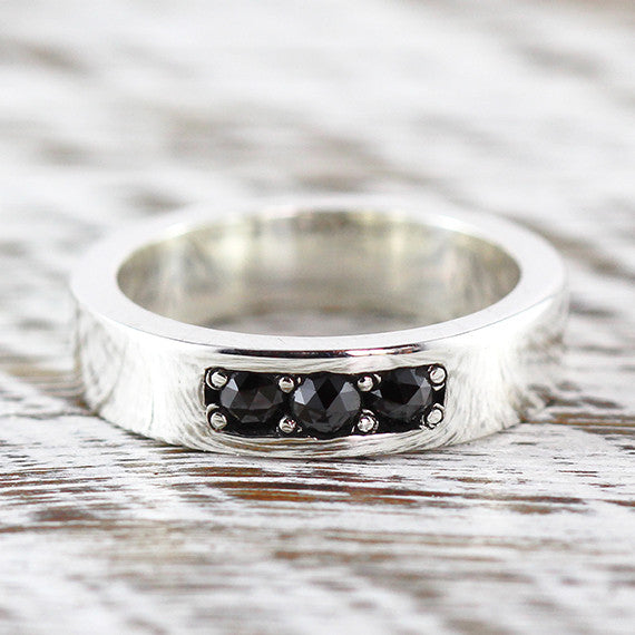 Black Diamond Wedding Band Sterling Silver Ring