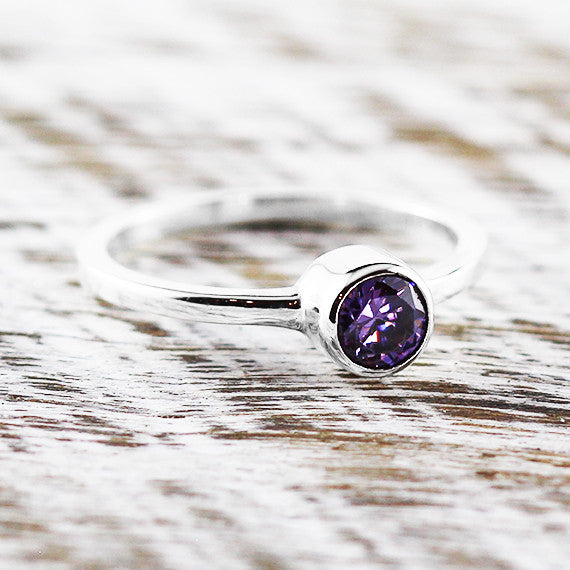 Sterling Silver Dainty Ring Purple Amethyst