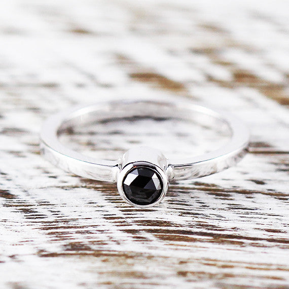 Rose Cut Black Diamond Ring 925 Sterling Silver