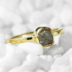 gold uncut grey diamond ring