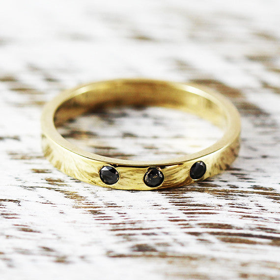 Black Diamond Wedding Band Polished Solid Gold