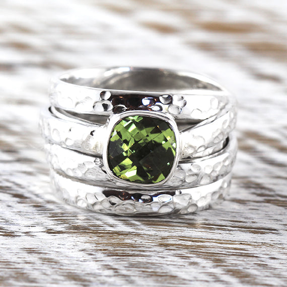 Green Peridot Silver Ring Womens 925 Sterling Silver Hammered Finish