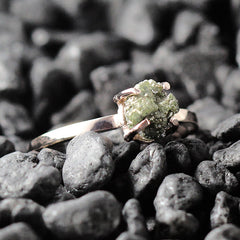 green raw diamond ring