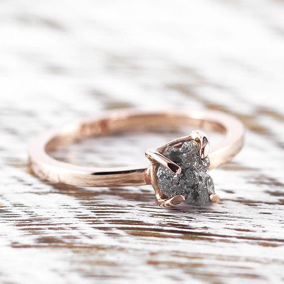 Uncut Grey Diamond Engagement Ring 14k Rose Gold