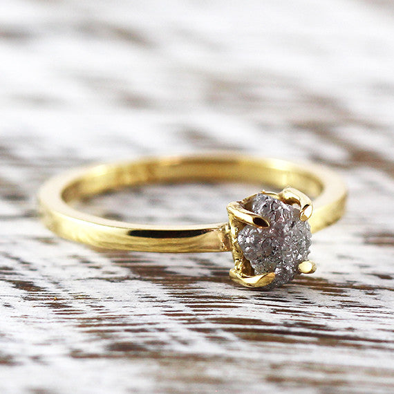 Uncut Grey Diamond Engagement Ring 14k Gold