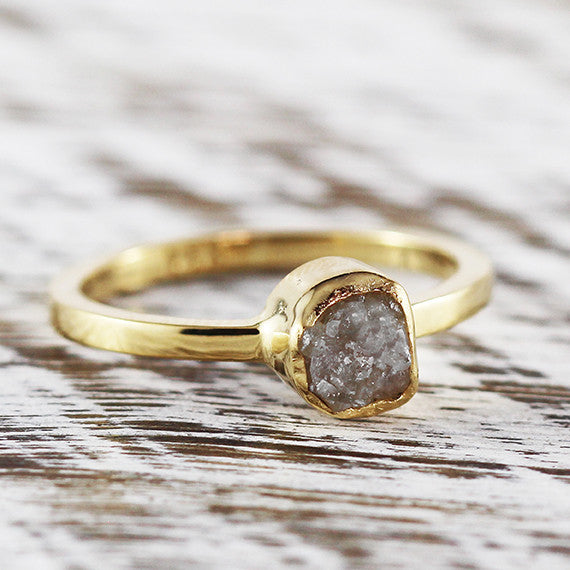 Gold Uncut Raw Grey Diamond Engagement Ring