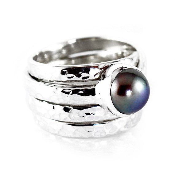 hammered finish pearl ring