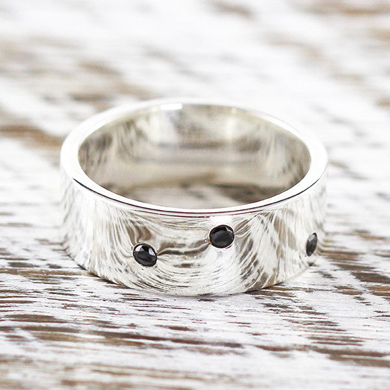 Sterling Silver Black Diamond Wedding Band Ring