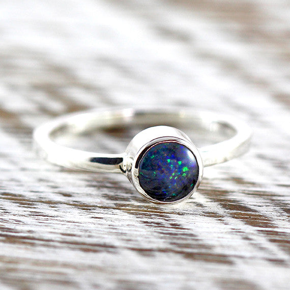 Bright Opal Dainty Womens Ring 925 Sterling Silver