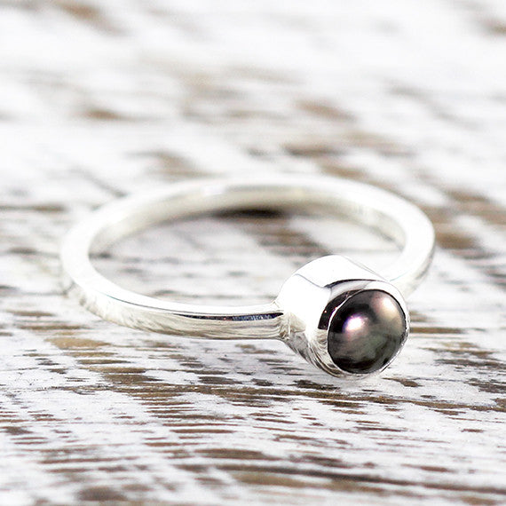 Black Freshwater Pearl Delicate Woman Rings Sterling Silver