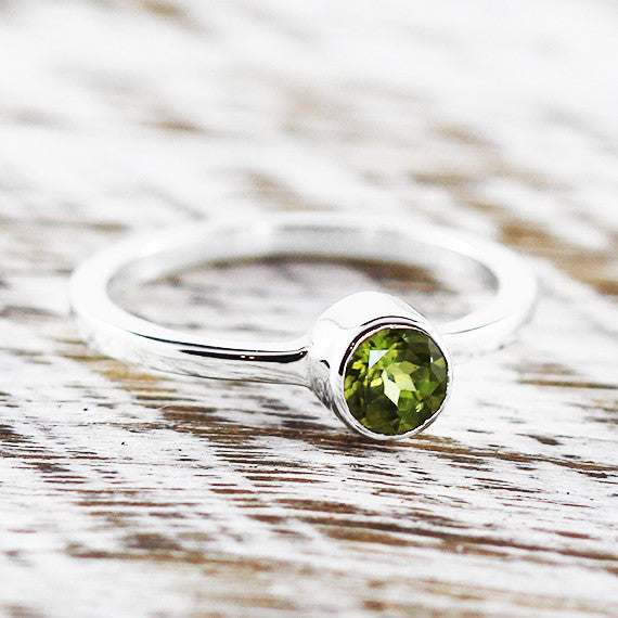 Green Peridot Dainty Sterling Silver Womens Ring