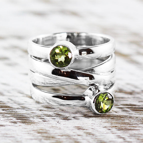 Sterling Silver Green Peridot Personalized Ring