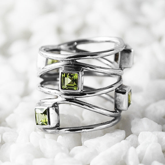 Green Peridot Dainty Ring 925 Sterling Silver