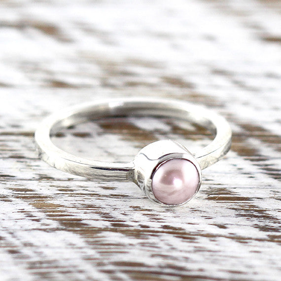 Pink Freshwater Pearl Delicate Woman Rings Sterling Silver