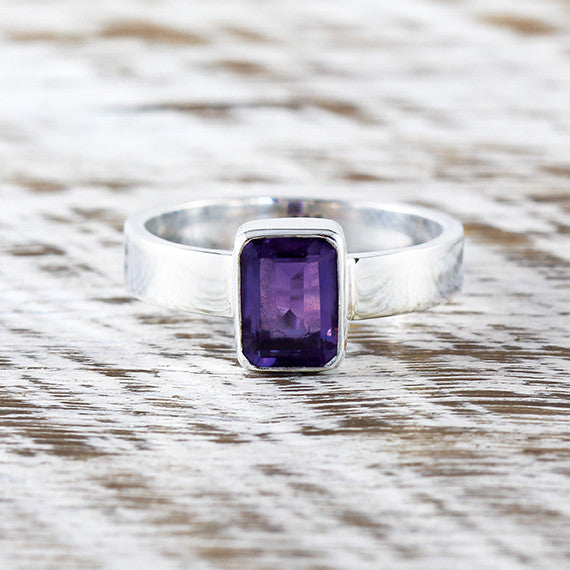 Amethyst Gemstone Ring 925 Sterling Silver Purple Womens Rings