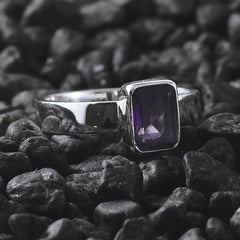 purple silver ring amethyst