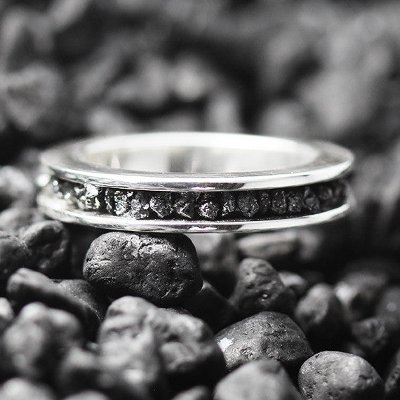 raw black diamnd ring