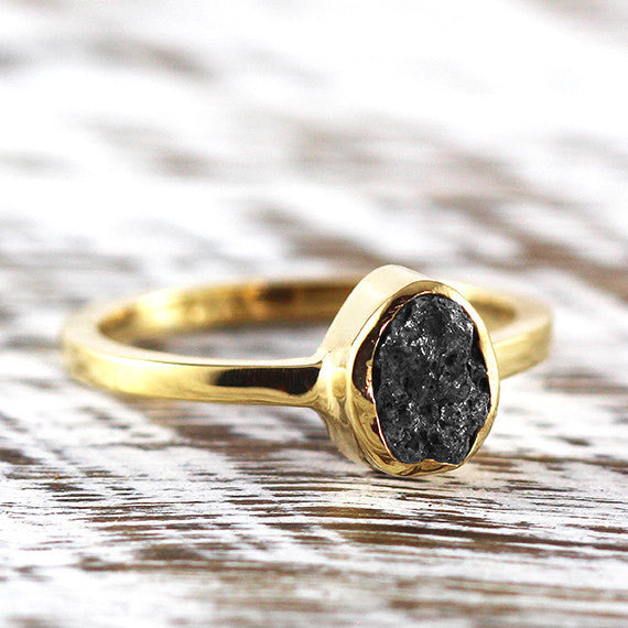 Black Uncut Diamond Engagement Ring 14k Gold