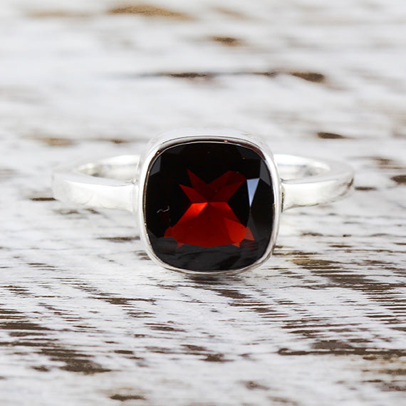 Garnet Ring Silver Band For Women Delicate Red Stack Engagement Ring