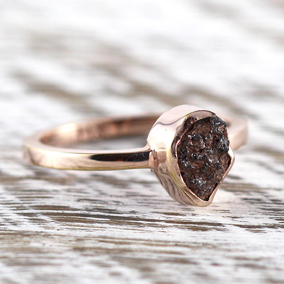 Rose Gold Black Uncut Diamond Engagement Ring